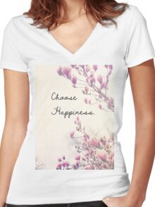 Choose Happiness Women's Fitted V-Neck T-Shirt