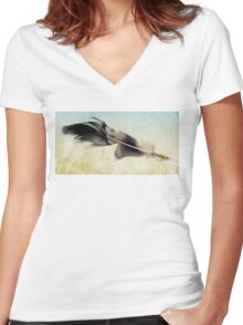 Memory of a quill Women's Fitted V-Neck T-Shirt