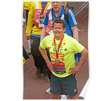 Mike Bushell  BBC presenter poses with his london Marathon medal Poster