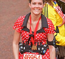 Minnie Mouse at the finish line of the London Marathon by Keith Larby