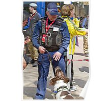 Policeman & Sniffer Dog at the London Marathon Poster