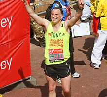 Tony Audenshaw from Emmerdale after finishing the London Marathon 2013 by Keith Larby