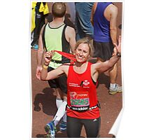 Sophie Raworth from BBC Breakfast finishing the London Marathon Poster