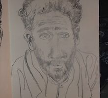 Self-portrait with towel -(220413)- Pencil/white A5 sketchbook by paulramnora