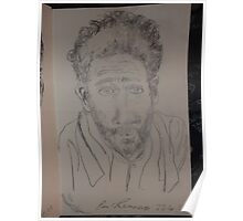 Self-portrait with towel -(220413)- Pencil/white A5 sketchbook Poster