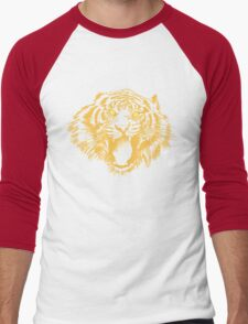 Growling Tiger in Orange With Yellow Eyes Men's Baseball ¾ T-Shirt