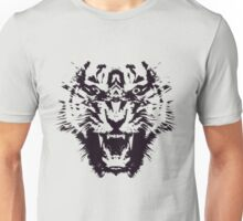 Black and White Abstract Jagged Angry Tiger Unisex T-Shirt