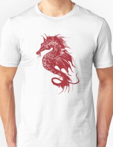 Angry Seahorse in Red Unisex T-Shirt