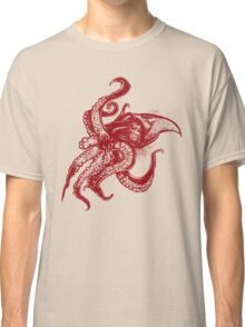 Angry Octopus In Red Classic T-Shirt