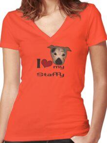 I love my staffy Women's Fitted V-Neck T-Shirt