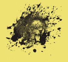 Roaring Lion in Black Splash Kids Tee
