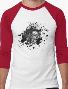 Roaring Lion in Black Splash Men's Baseball ¾ T-Shirt