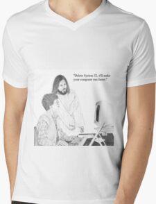 IT Tech Jesus Mens V-Neck T-Shirt