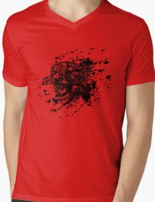 Angry Cheetah in Black Splash Mens V-Neck T-Shirt