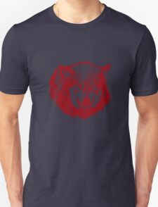Angry Wolf in Red Unisex T-Shirt