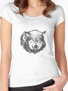 Angry Wolf in Black Women's Fitted Scoop T-Shirt