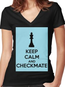 Keep Calm And Checkmate Women's Fitted V-Neck T-Shirt