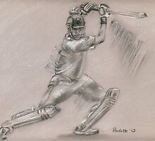 Sachin Tendulkar - batting stance by Paulette Farrell