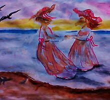 Little girls in long dresses at the beach, watercolor by Anna  Lewis, blind artist
