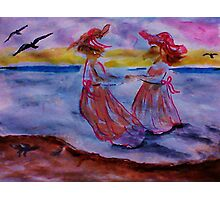 Little girls in long dresses at the beach, watercolor Photographic Print