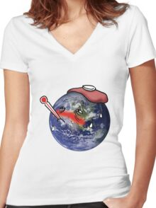 Global Warming Women's Fitted V-Neck T-Shirt
