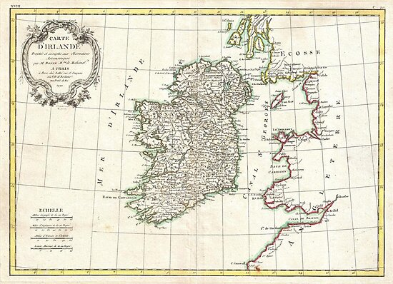 Vintage Map of Ireland (1771) by alleycatshirts