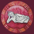 Mandala Tee, Hoodie, Sticker : Fire Reclining Buddha  by danita clark