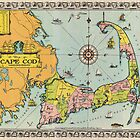Vintage Map of Cape Cod (1932) by alleycatshirts