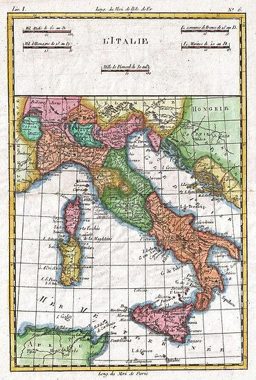 Vintage Map of Italy (1780) by alleycatshirts