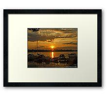 Docked Boats at Sunset Framed Print