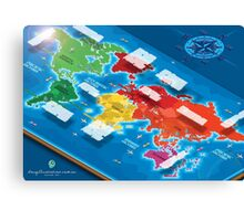 World Map in Isometric Canvas Print