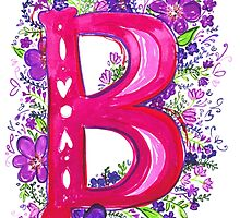 Letter B Illustrated Watercolor Wildflowers by rubyandpearl