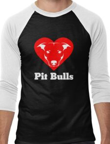 I Love Pit Bulls Men's Baseball ¾ T-Shirt
