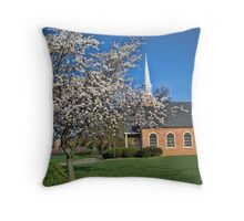 Country Church In Spring Throw Pillow