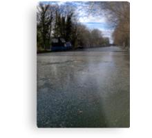 Frozen Canal in Berkshire Metal Print