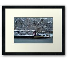 Frozen Narrowboat on Kennet and Avon Canal Framed Print