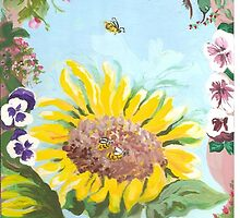 Sunflower and bees by catherine6401