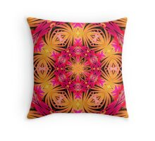 Orange,pink and black Mandala Throw Pillow
