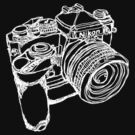 Nikon FE with MD-12 Motor Drive Drawing WHITE INK by strayfoto