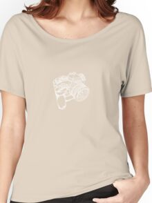 Nikon FE with MD-12 Motor Drive Drawing WHITE INK Women's Relaxed Fit T-Shirt