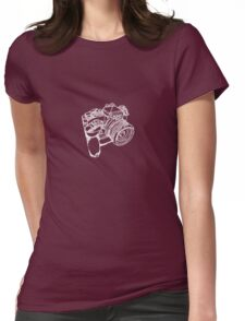 Nikon FE with MD-12 Motor Drive Drawing WHITE INK Womens Fitted T-Shirt