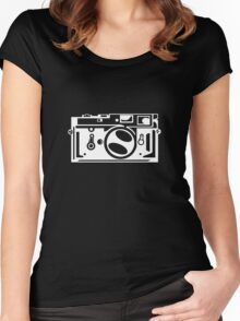 Classic Leica M3 Camera Design WHITE INK for DARK TEES Women's Fitted Scoop T-Shirt