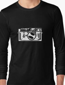 Classic Leica M3 Camera Design WHITE INK for DARK TEES Long Sleeve T-Shirt