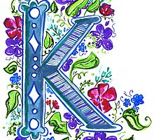 Letter K Illustrated Watercolor Wildflowers by rubyandpearl