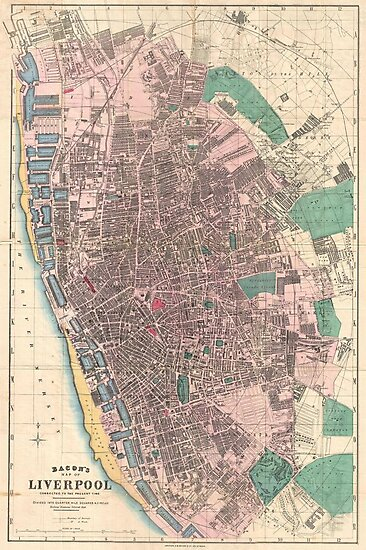 Vintage Map of Liverpool England (1890) by alleycatshirts