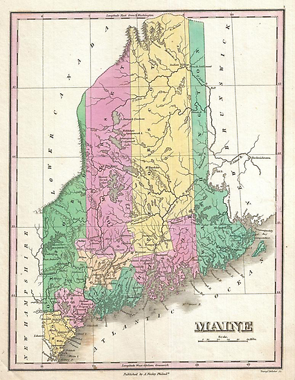 Vintage Map of Maine (1827) by alleycatshirts