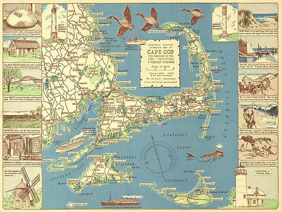 Vintage Map of Cape Cod (1940) by alleycatshirts