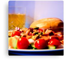 Smoked salmon bagel with salad Canvas Print