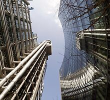 Wide-angle view of Lloyd's and the Willis Building. by John Gaffen