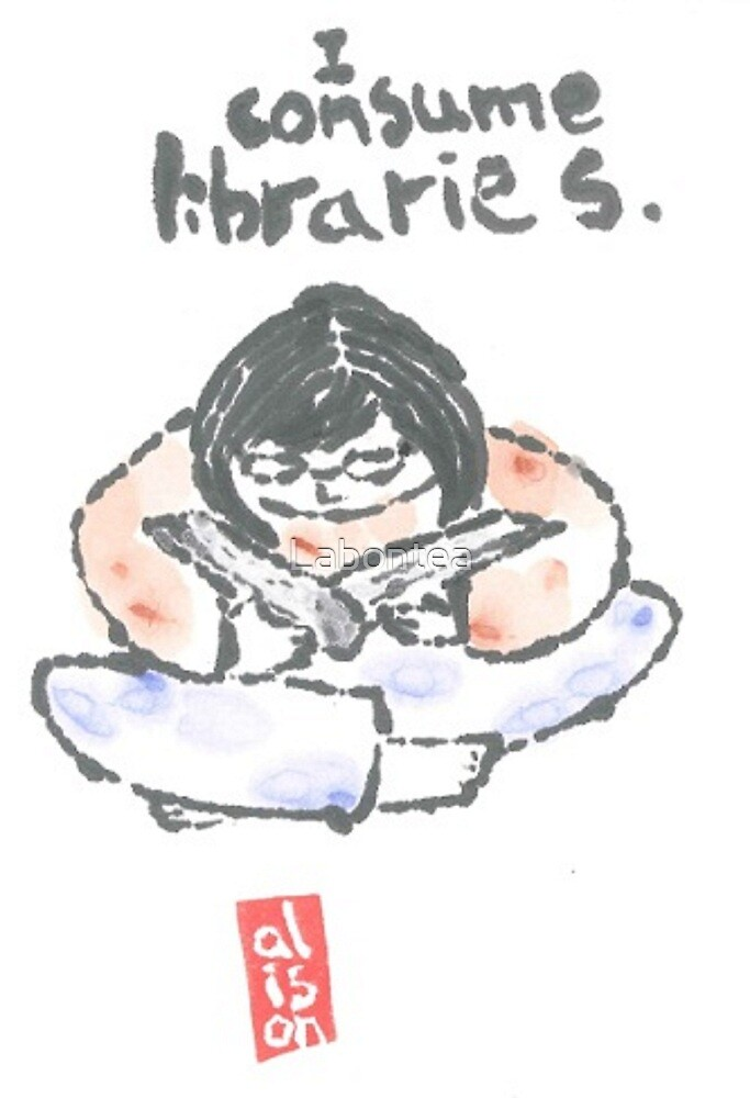 I Consume Libraries Watercolor Etegami postcard by Labontea